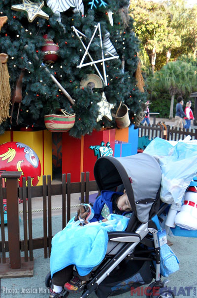 The ridiculous amount of things hanging from our stroller made it easy to spot!